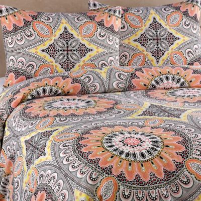Agra King Duvet Cover Set in Peach