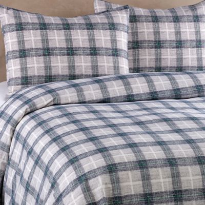 Aberdeen Plaid Full/Queen Duvet Cover Set in Grey