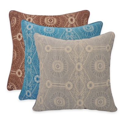 Arlee Home Fashions® Heston Chenille Medallion Square Throw Pillow in Teal (Set of 2)