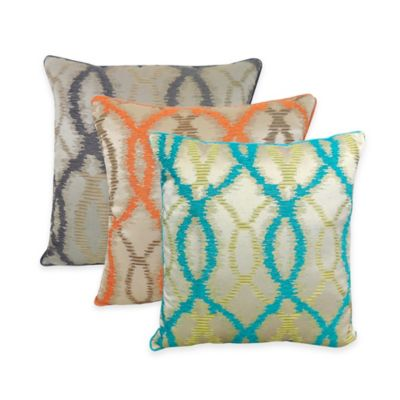 Arlee Home Fashions® Ice Age Chenille Ikat Square Throw Pillow in Teal (Set of 2)