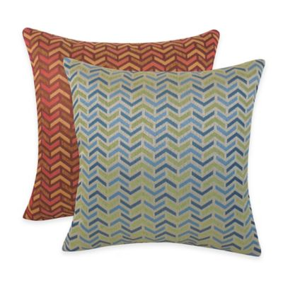 Arlee Home Fashions® Mona Woven Geometric Square Throw Pillow in Brick (Set of 2)