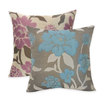 Arlee Home Fashions® Rosemary Silky Jacquard Floral Square Throw Pillow in Slate (Set of 2)