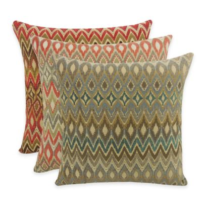 Arlee Home Fashions® San Mateo Woven Flame Stitch Square Throw Pillow in Tangerine (Set of 2)