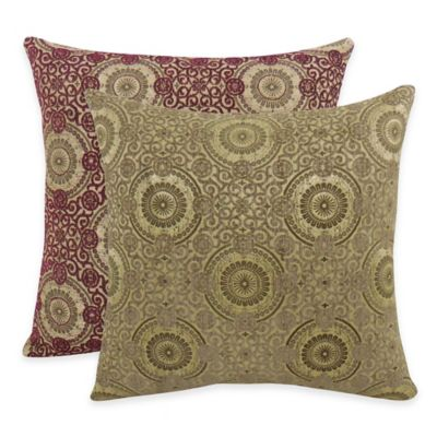 Arlee Home Fashions® Plinko Woven Medallion Square Throw Pillow in Loganberry (Set of 2)