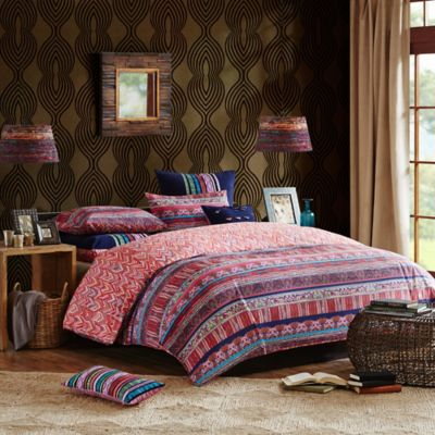 Josie by Natori Katina Twin Duvet Cover Set in Blue/Red