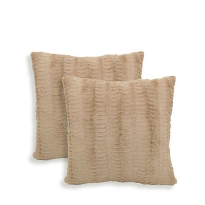 Arlee Home Fashions® Dover Faux-Fur Square Throw Pillows in Tan (Set of 2)