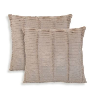 Arlee Home Fashions® Oracle Faux-Fur Square Throw Pillow in Tan (Set of 2)