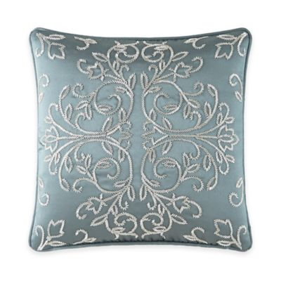 Waterford® Linens Dunham Beaded Square Throw Pillow in Glacier