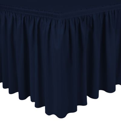 Shirred 11-Foot Polyester Table Skirt in Navy Blue