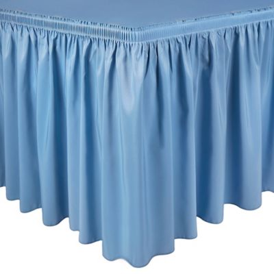 Shirred 21-Foot Polyester Table Skirt in Light Blue