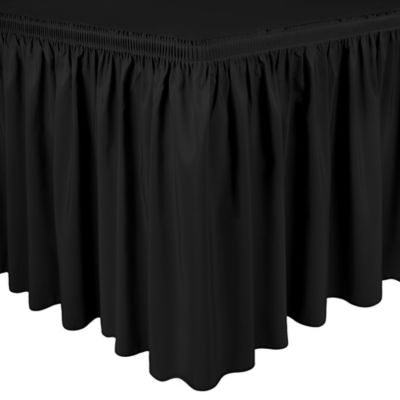 Shirred 11-Foot Polyester Table Skirt in Black