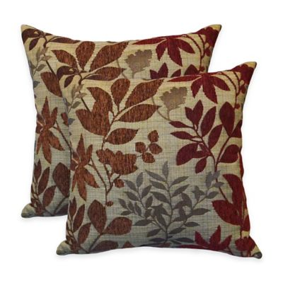 Arlee Home Fashions® Bristol Chenille Jacquard Leaf Square Throw Pillow in Burgundy (Set of 2)