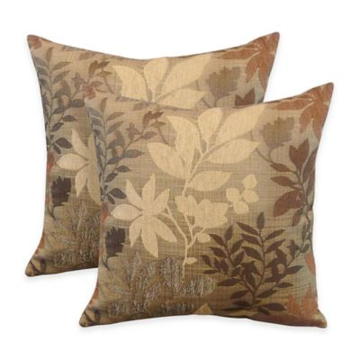 Arlee Home Fashions® Bristol Chenille Jacquard Leaf Square Throw Pillow in Taupe (Set of 2)