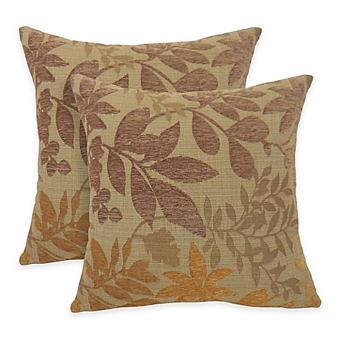 Arlee Home Fashions Bristol Chenille Jacquard Leaf Square Throw Pillow Set Of 2