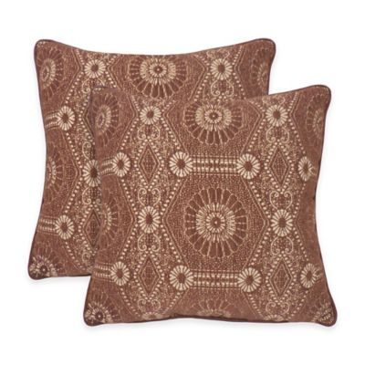 Arlee Home Fashions® Heston Chenille Medallion Square Throw Pillow in Chocolate (Set of 2)