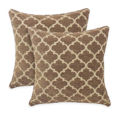 Arlee Home Fashions® Sandglass Chenille Geometric Throw Pillow in Tan (Set of 2)