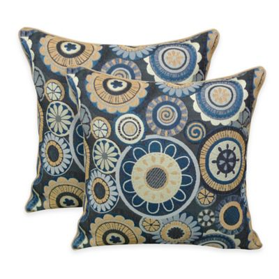 Arlee Home Fashions® Scarlett Woven Jacquard Square Throw Pillow in Blue (Set of 2)