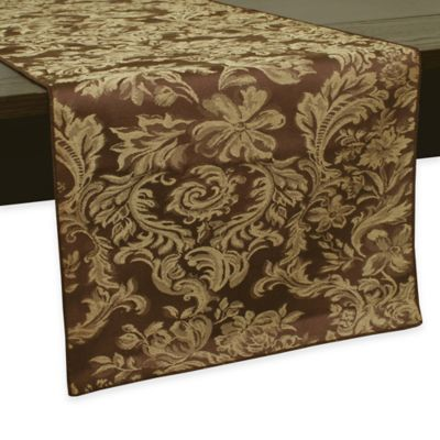 Miranda Damask 54-Inch Table Runner in Chocolate
