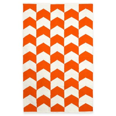 Fab Habitat Metropolitan Arrows 4-Foot x 6-Foot Area Rug in Orange/White