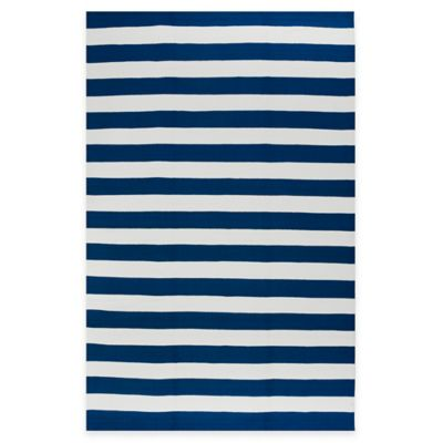 Fab Habitat Nantucket Stripe 3-Foot x 5-Foot Area Rug in Blue & White