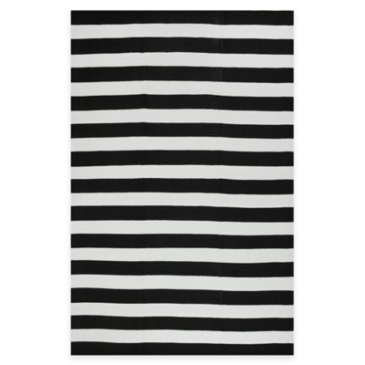 Fab Habitat Nantucket Stripe 2-Foot 6-Inch x 8-Foot Runner in Black & White