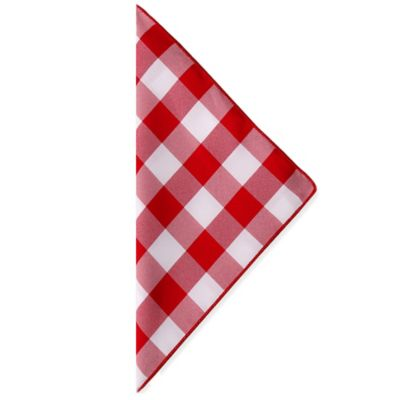 Gingham Poly Check Napkins in Red/White (Set of 4)