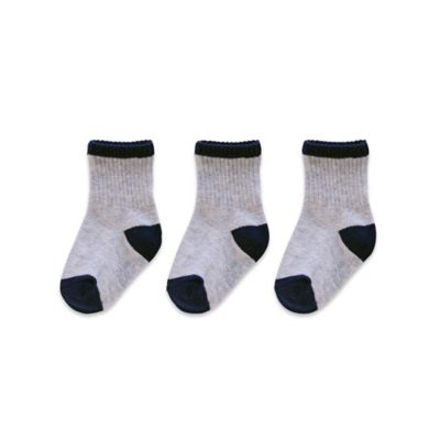 goldbug™ Size 12-24M 3-Pack Ribbed Computer Socks in Heather Grey