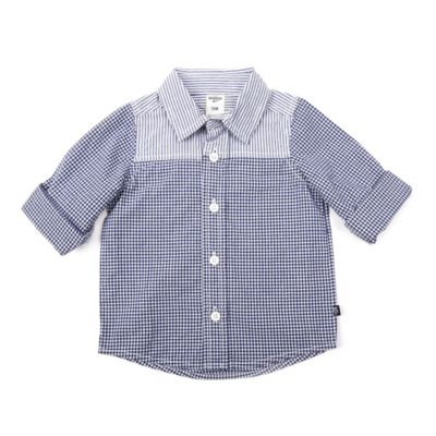 OshKosh Baby B'gosh® Size 3M Colorblock Button-Front Shirt in Chambray