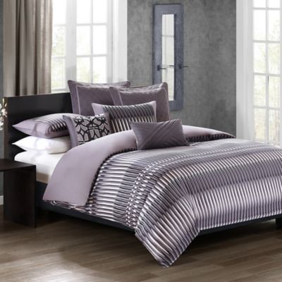 N Natori® Abstract Stripe King Comforter Set in Grey