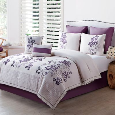 VCNY Aurosa 8-Piece King Comforter Set in Plum