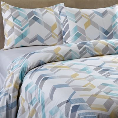 Osaka Reversible King Duvet Cover Set in White