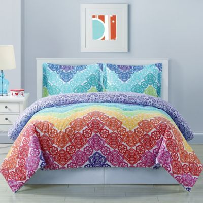 Lace Chevron Reversible Twin Comforter Set in Rainbow