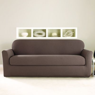 Sure Fit® Stretch Twill 2-Piece Sofa Slipcover in Mocha