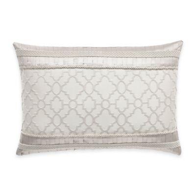 Croscill® Victoria Trellis Oblong Throw Pillow in White/Grey