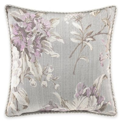 Croscill® Victoria Floral Jacquard Square Throw Pillow in Grey