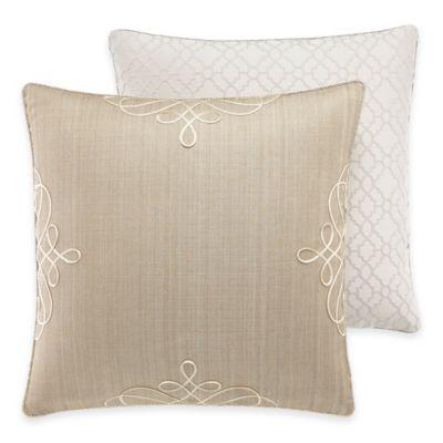Croscill® Victoria Reversible European Pillow Sham in Taupe/White