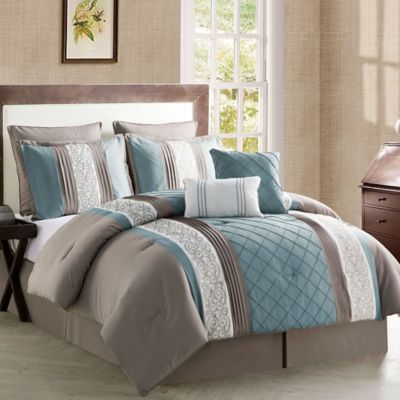 VCNY Farion 8-Piece Queen Comforter Set in Taupe/Blue
