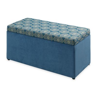 Toy Chests > Linon Home Tree House Lane Upholstered Toy Chest in Blue Passport