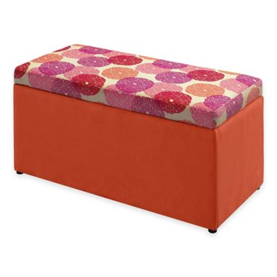 Linon Home Tree House Lane Upholstered Toy Chest in Orange Dreamer