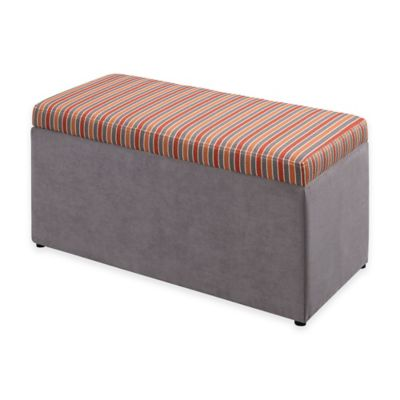 Linon Home Tree House Lane Striped Upholstered Toy Chest in Orange/Grey