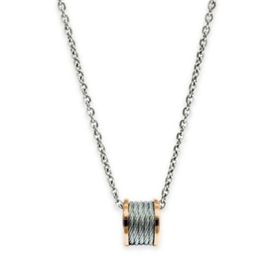 Charriol Rose-Plated and Stainless Steel 18.5-Inch Chain Forever Cable Pendant Necklace
