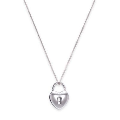 Charriol Stainless Steel 18.5-Inch Chain Padlock Heart Pendant Necklace