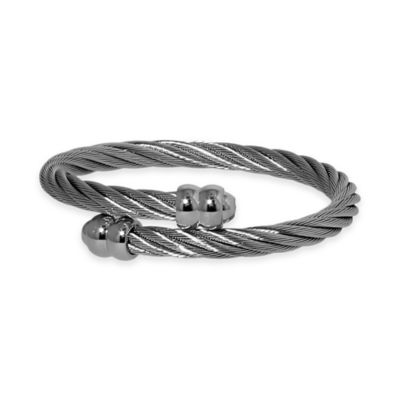 Charriol Stainless Steel Twisted Cable 6.4-Inch Unisex Double Godrons Bangle