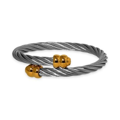 Charriol Stainless Steel Twisted Cable Unisex Yellow Gold-Plated Double Godrons Bangle