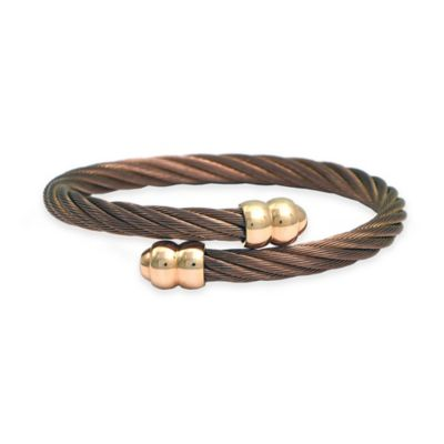 Charriol Bronze-Plated Twisted Cable Unisex Yellow Gold-Plated Double Godrons Bangle