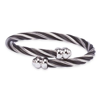 Charriol Stainless Steel and Black PVD Medium Twisted Cable Celtic Bangle Bracelet