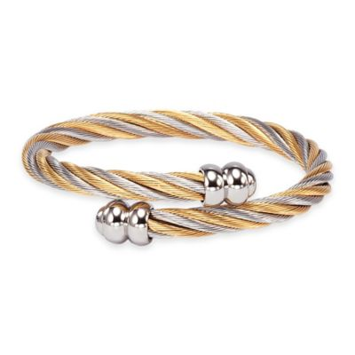 Charriol Stainless Steel and Yellow PVD Medium Twisted Cable Celtic Bangle Bracelet