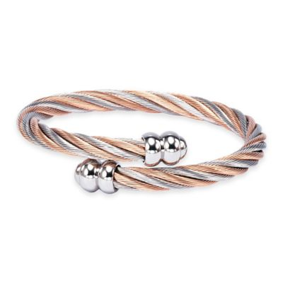 Charriol Stainless Steel and Rose PVD Medium Twisted Cable Celtic Bangle Bracelet
