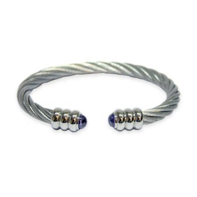 Charriol Stainless Steel Prune Cubic Zirconia Twisted Cable Unisex Celtic 88 Bangle
