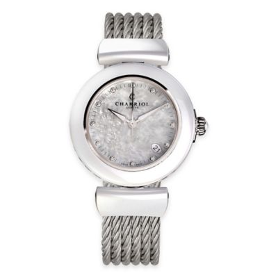 Charriol AEL Ladies' 33mm Watch in Silvertone Ceramic with Mother of Pearl Dial